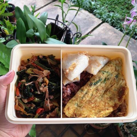Nasi merah dengan tumis kangkung pedas, telur dadar, dan dori.