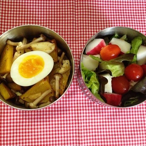 Jamur shimeji panggang denga telor rebus dan salad